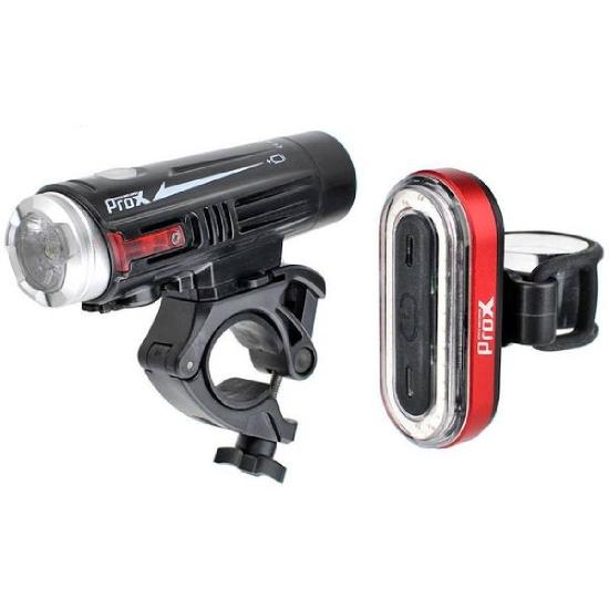 Zestaw lamp rowerowych Crater Set 880lm + Iris 50lm USB Prox